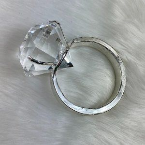 Silver Tone Glass Wedding Ring Paperweight